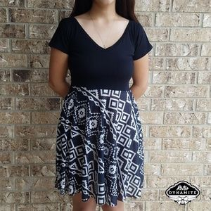 Black and White Tribal Festival Dress with Pockets